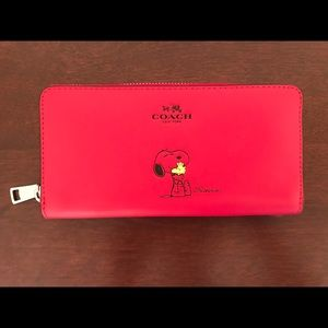 Coach Red Snoopy Clutch